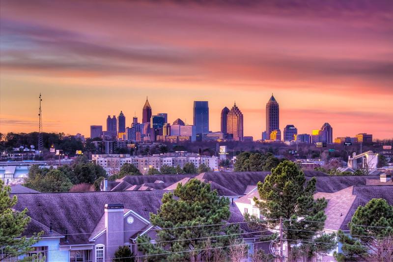 Atlanta morning skyline from Lindbergh Station.