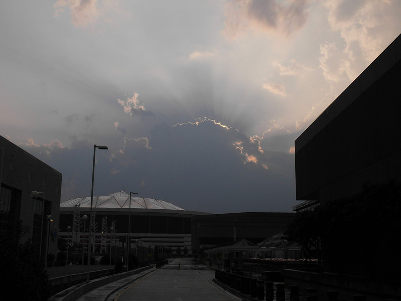 Storm clouds rising over the Georgia Dome