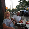 7:57 pm - Janet Culp of Germantown and Clint Rutledge enjoy the sidewalk cafe at Cafe Ole at sunset