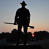 "6:27 am - the sun comes up over ""The Hiker"" a statue built in 1956 to honor Spanish American War veterans"
