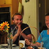 7:43 PM - Ryan Swanson of Portland Oregon and Claire Sellner of Atlanta are guests at Pilgrim House and swap funny stories over a dinner cooked by Chuck and Barbara Wallace.