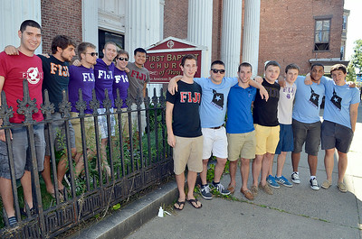 J.S.Carras/DIgitalfirstmedia.com  Members of Tau Nu chapter of Phi Gamma Delta fraternity Saturday, August 30, 2014 renovating the former First Baptist Church on 3rd Street in Troy, N.Y..