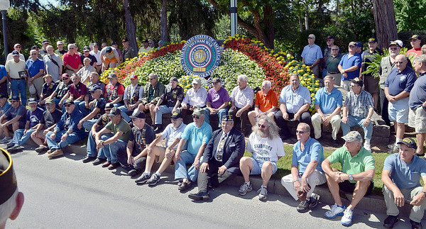 J.S.Carras/DIgitalfirstmedia.com  Vietnam Era Veterans gather on Circular Street to commemorate the 50th anniversary of the Vietnam War Friday, August 29, 2014 in Saratoga Springs, N.Y..