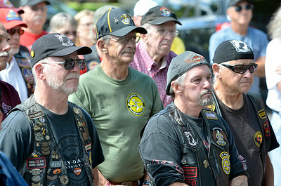 J.S.Carras/DIgitalfirstmedia.com  Vietnam Era Veterans gather in Congress Park to commemorate the 50th anniversary of of the Vietnam War Friday, August 29, 2014 in Saratoga Springs, N.Y..