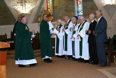 Jubilarians are blessed during the Mass.