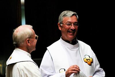 Fr. John Czyzynski, novice master, with Fr. Tom Cassidy, provincial superior, before the Entrance to Novitiate ceremony.