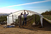Chip and Hardy. Experimental hoop houses for blueberries