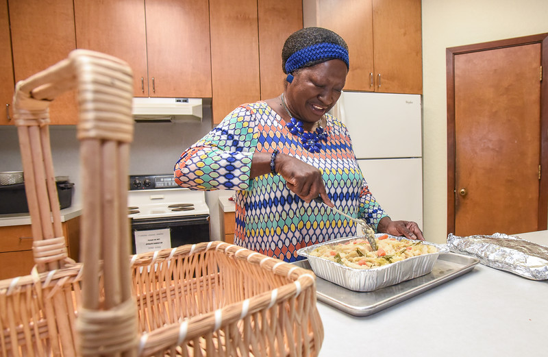 Augustana Lutheran Church, Houston |  Martha Morgan prepares food for a homeless ministry.