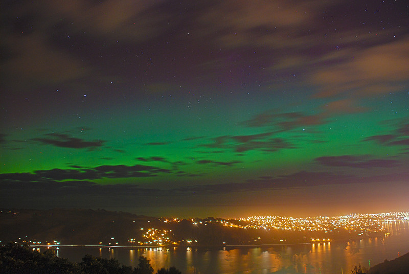 Aurora Australis over  Dunedin Harbour. 15 July 2012, 9:29pm. Signal Hill. HDR Photograph