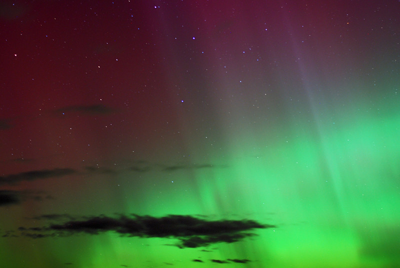 Aurora Australis over  Dunedin. 15 July 2012, 11:04pm. Signal Hill.