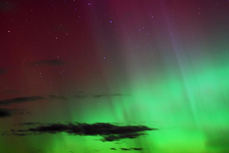 Aurora Australis over  Dunedin. 15 July 2012, 11:04pm. Signal Hill.