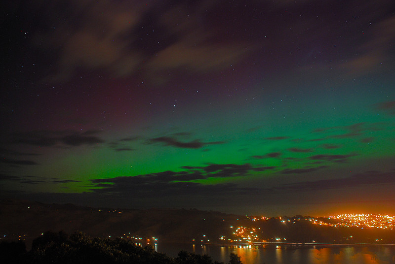 Aurora Australis over  Dunedin Harbour. 15 July 2012, 9:27pm. Signal Hill.