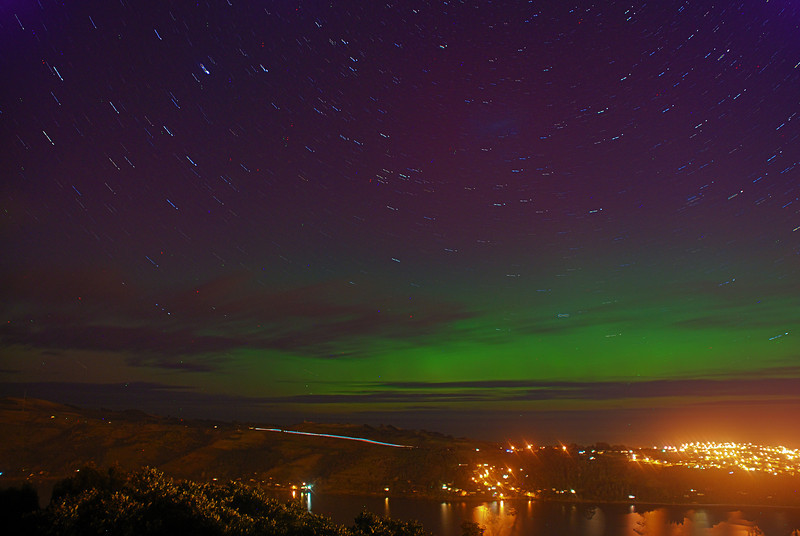 Aurora Australis over  Dunedin Harbour. 15 July 2012, 11:45pm. Signal Hill. HDR Photograph