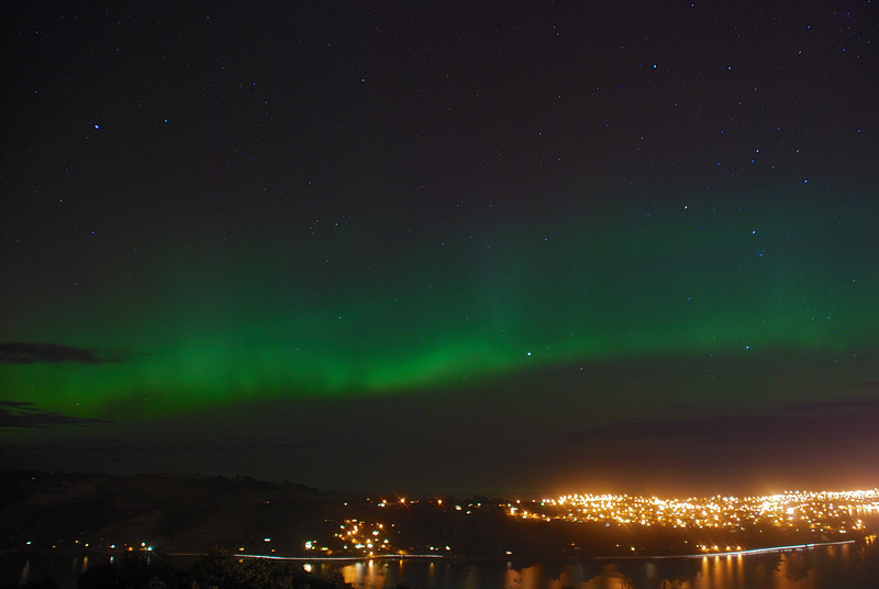 Aurora Australis over  Dunedin Harbour. 15 July 2012, 10:56pm. Signal Hill.