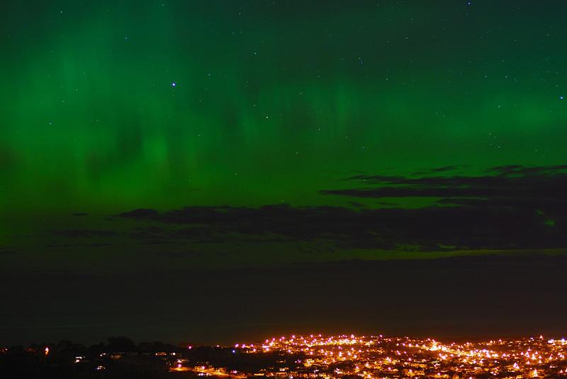 Aurora Australis over  Dunedin. 15 July 2012, 11:08pm. Signal Hill.
