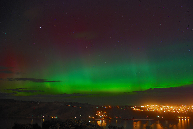Aurora Australis over  Dunedin Harbour. 15 July 2012, 11:00pm. Signal Hill.