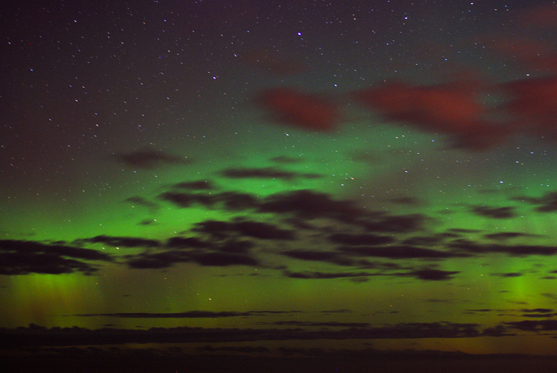 Aurora Australis over  Dunedin. 16 July 2012, 00:01am. Signal Hill