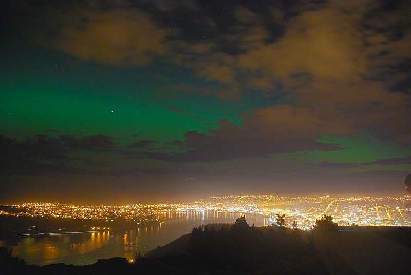 Aurora Australis over  Dunedin. 15 July 2012, 9:11pm. Signal Hill