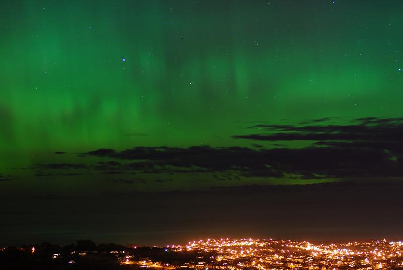 Aurora Australis over  Dunedin. 15 July 2012, 11:07pm. Signal Hill.