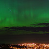 Aurora Australis over  Dunedin. 15 July 2012, 11:07pm. Signal Hill.