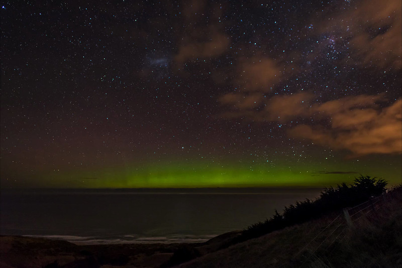 Aurora Australis from Highcliff Road, Otago Peninsula. 11 July 2013