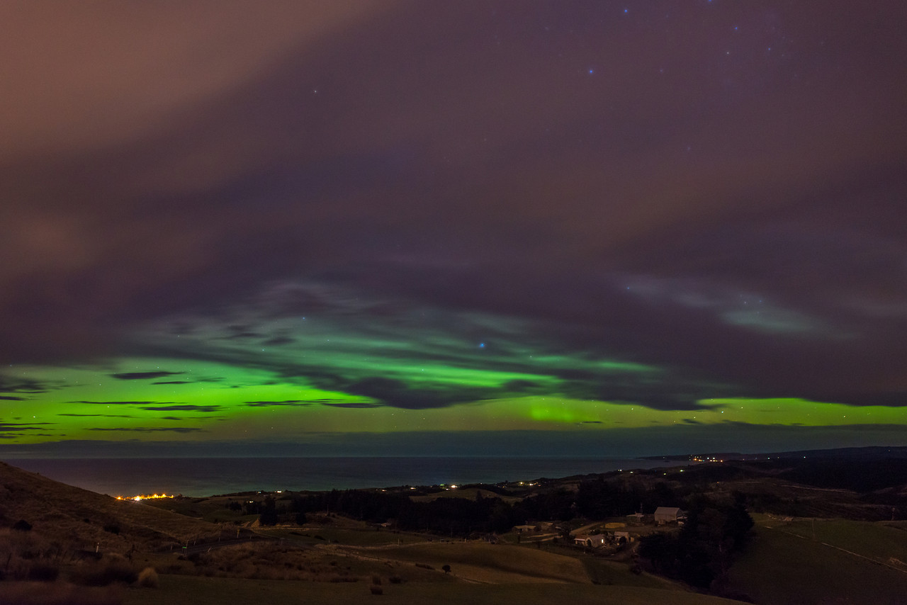 Aurora Australis over Brighton. View from Scroggs Hill