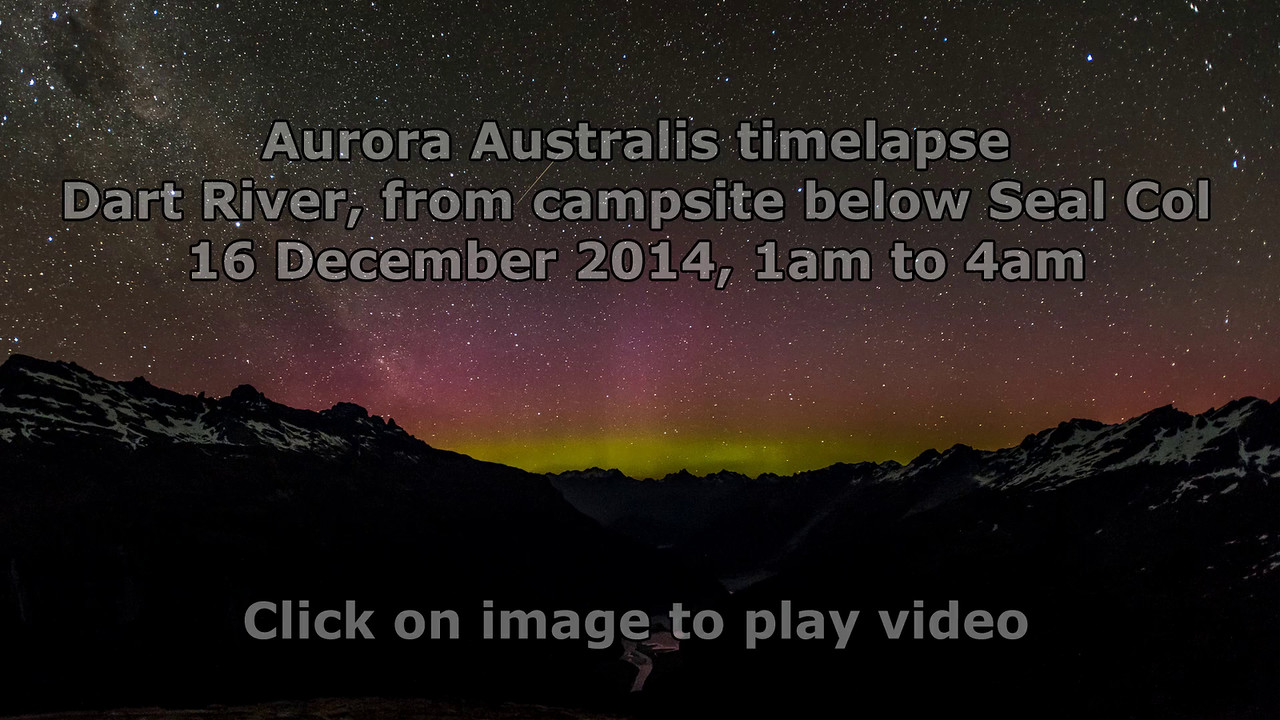 Timelapse - aurora australis over the Dart River. View from a campsite below Seal Col.