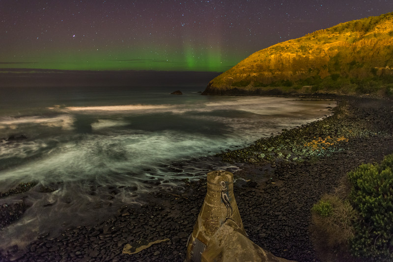 Aurora australis. Second Beach, St Clair, Dunedin. 27 August 2014, h21:10