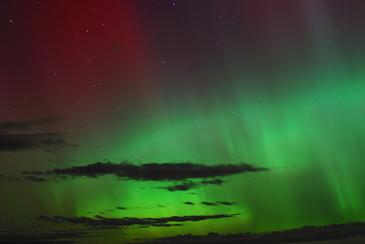 Aurora Australis over  Dunedin. 15 July 2012, 11:03pm. Signal Hill.
