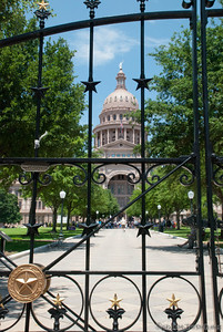 Texas State House sits behind the front gate.