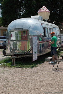 An old air stream serves as a food trailer