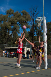We go and watch Megan play netball. She shoots, she scores!