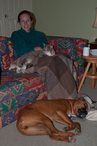 Back at home, Em grabs every animal she can to help keep warm!