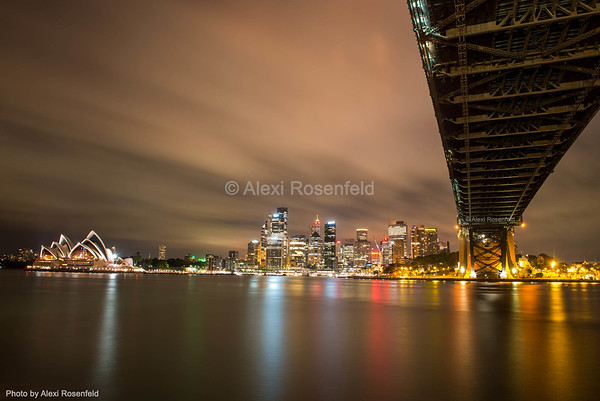 9. The Sydney Opera House and skyline as seen from under the Sydney Harbour Bridge.