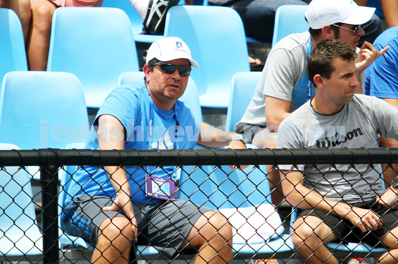 Australian Open Qualifiers 2013. Former Israeli tennis great Amos Mansdorf coaching Marco Chiudinelli (SUI) [25]. Photo: Peter Haskin