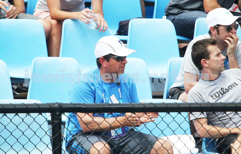 Australian Open Qualifiers 2013. January 11. Former Israeli tennis great Amos Mansdorf coaching Marco Chiudinelli (SUI) [25]. Photo: Peter Haskin