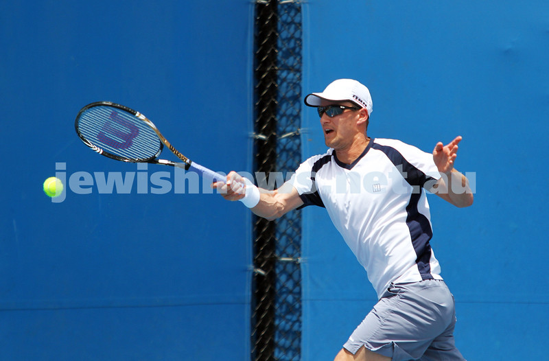 Australian Open Qualifiers 2013. Marco Chiudinelli (SUI) [25], coached by former Israeli tennis great Amos Mansdorf. Photo: Peter Haskin