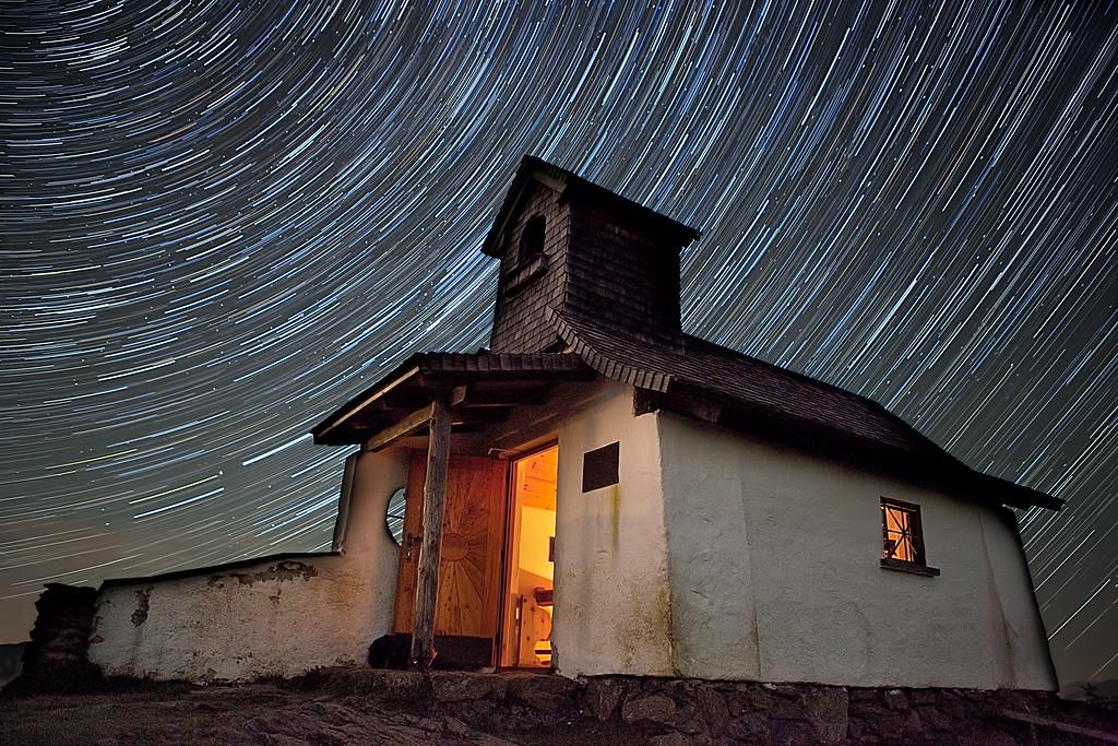 Church by Night Star Trails