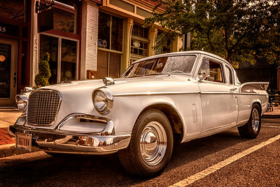 Studebaker Silver Hawk photographed during the 21st Blast of the Past Car Show in downtown Delaware, Ohio on July 26, 2014.
