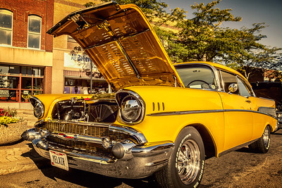 1957 Chevy Belair photographed during the Heart of the City Cruise In car show in downtown Mansfield, Ohio on August 24, 2013.