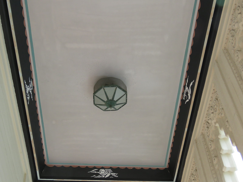 A closeup of the ceiling in the balcony area seen in the previous photo.