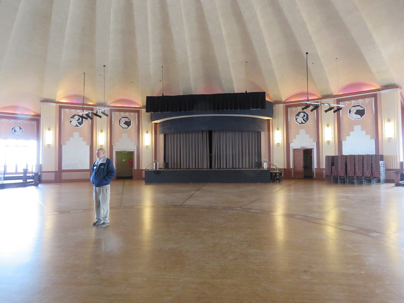 Our guide with a view of the stage.  There are dances at least once a month with big bands and jazz concerts,.