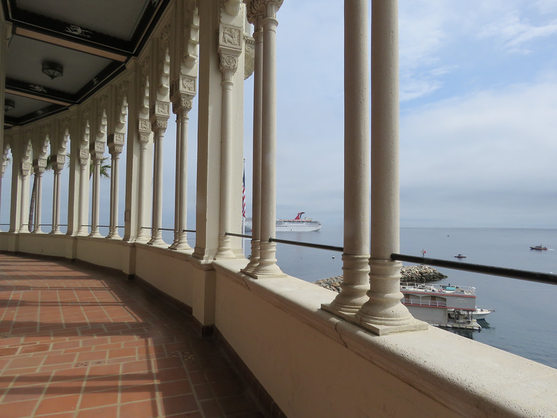 On the walkway outside the ballroom and a view of the harbor with the Carnival Cruise ship.