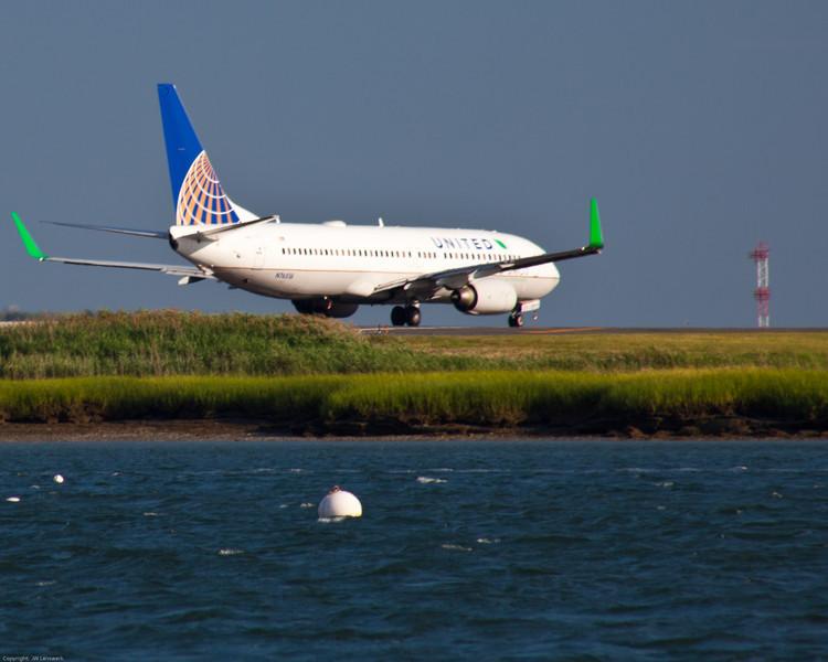 Departing Boston Logan from Runway 22R.