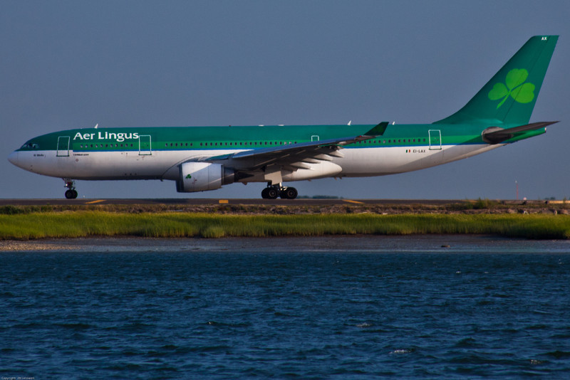 Aer Lingus A330 holding short of Boston Logan Runway 22R preparing for an early evening departure.