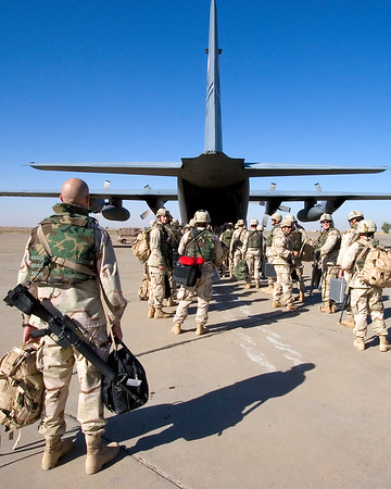 3rd Place, MOAA 2007:  Troops boarding C-130, Iraq.