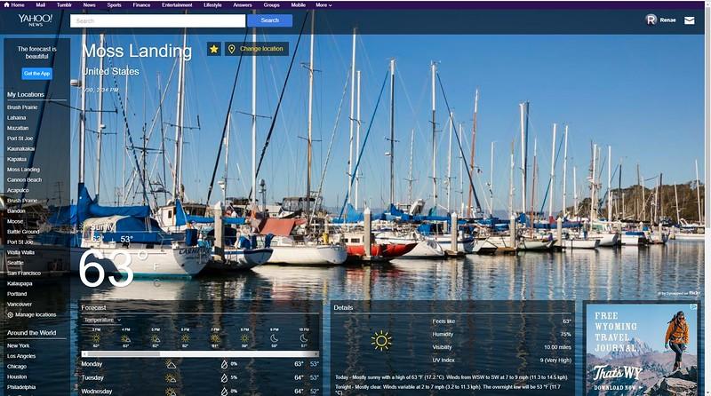 Yahoo Weather website