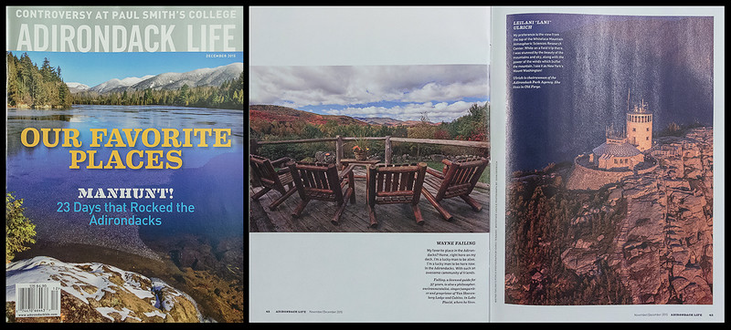 "The December 2015 issue of ""Adirondack Life"" magazine featured one of my photographs in their ""Our Favorite Places"" article."