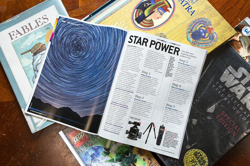 "In their May 2015 issue, ""Popular Photography"" used my tutorial on star trail photography for their recurring ""You Can Do It"" column."