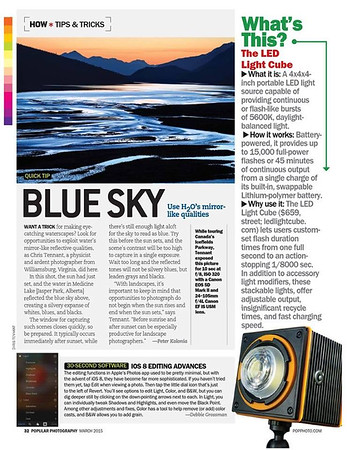 "The March 2015 issue of ""Popular Photography"" used my image from the Canadian Rockies for their ""Tips & Tricks"" column."